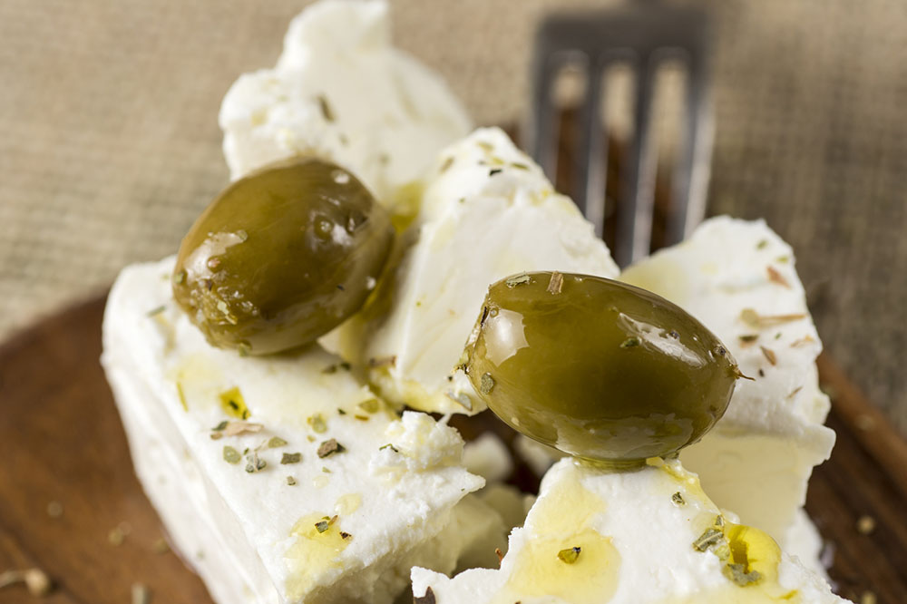 Greek Feta Cheese with Green Olives, Oregano and Olive Oil
